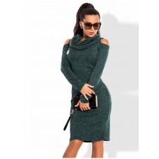 Платье теплое с вырезом на плечах, код 43013